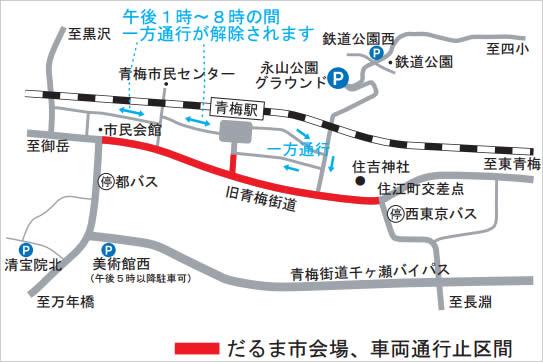 青梅だるま市の地図