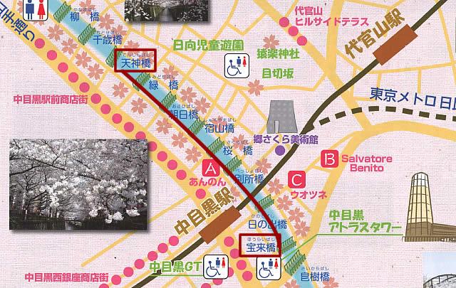中目黒川桜ライトアップの地図